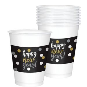 Black, Gold & Silver New Year's Cups 25ct