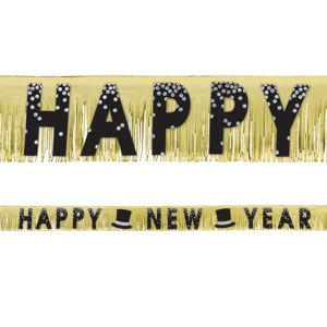 Black, Gold & Silver New Year's Fringe Banner
