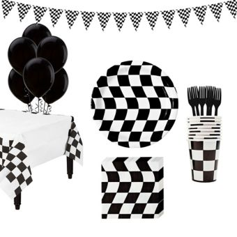 Black & White Checkered Super Tableware Kit for 16 Guests