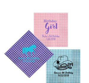 Personalized Girls Birthday Gingham Beverage Napkins