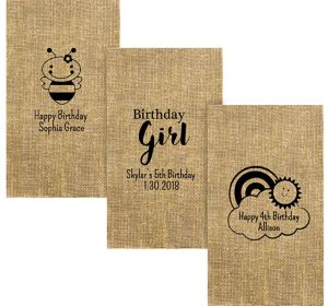 Personalized Girls Birthday Burlap Print Guest Towels