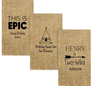 Personalized Boys Birthday Burlap Print Guest Towels