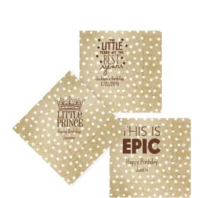 Personalized Boys Birthday Small Dots Beverage Napkins