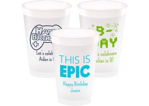 Personalized Boys Birthday Frosted Plastic Shatterproof Cups 14oz