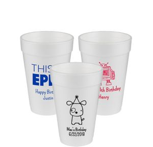 Personalized Boys Birthday Foam Cups 16oz