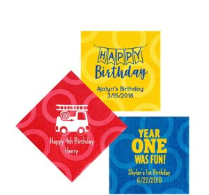 Personalized 1st Birthday Circles Beverage Napkins