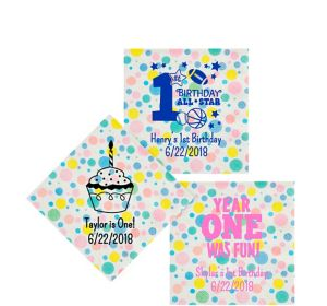 Personalized 1st Birthday Pastel Dots Beverage Napkins