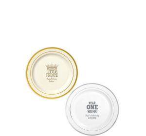 Personalized 1st Birthday Trimmed Premium Plastic Dessert Plates