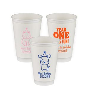 Personalized 1st Birthday Insulated Paper Cups 16oz
