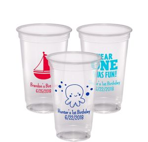 Personalized 1st Birthday Plastic Party Cups 20oz