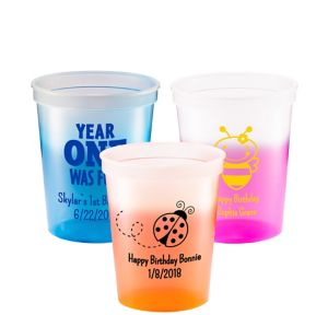 Personalized 1st Birthday Color-Changing Plastic Stadium Cups 16oz