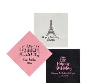 Personalized Milestone Birthday Premium Beverage Napkins