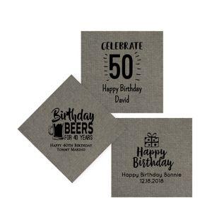 Personalized Milestone Birthday Tweed Print Beverage Napkins