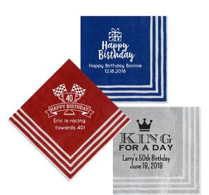 Personalized Milestone Birthday Stripe Border Lunch Napkins