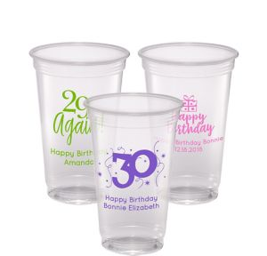 Personalized Milestone Birthday Plastic Party Cups 20oz