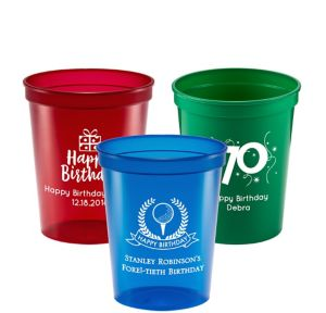 Personalized Milestone Birthday Translucent Plastic Stadium Cups 16oz