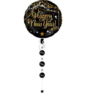 Black, Gold & Silver Dots and Stars Happy New Year Balloon with Tail