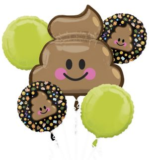 Poop Icon Balloon Bouquet 5pc