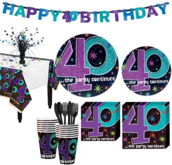 The Party Continues 40th Birthday Party Kit for 16 Guests