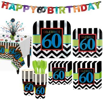 Celebrate 60th Birthday Party Kit for 16 Guests