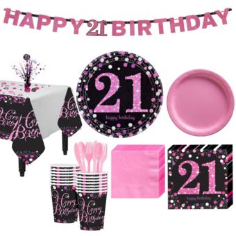 Pink Sparkling Celebration 21st Birthday Party Kit for 16 Guests