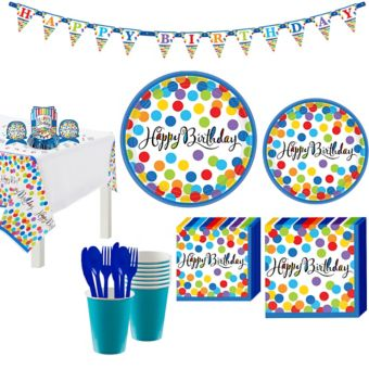 Bright Dot Birthday Party Kit for 18 Guests