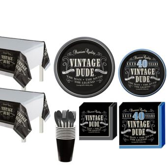 Vintage Dude 40th Birthday Party Kit for 16 Guests