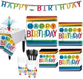 Rainbow Birthday Party Kit for 16 Guests