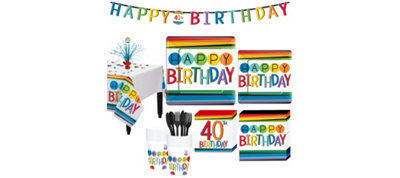 Rainbow 40th Birthday Party Kit for 16 Guests