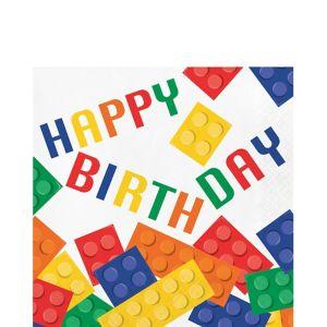 Building Blocks Birthday Lunch Napkins 16ct