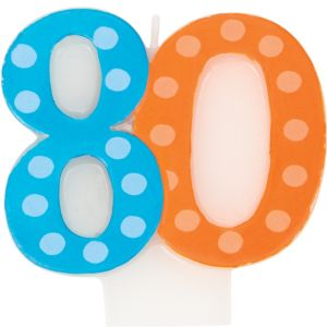 Polka Dot Number 80 Candle