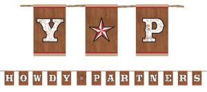 Howdy Partners Yeehaw Western Letter Banner