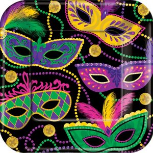 Masquerade Mardi Gras Dinner Plates 8ct