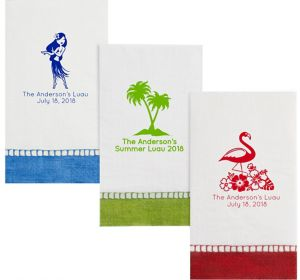 Personalized Luau Bordered Guest Towels