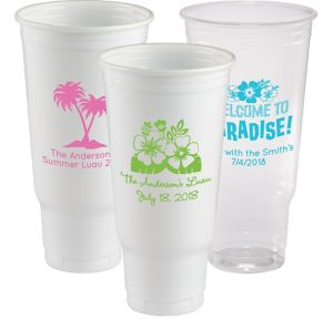 Personalized Luau Plastic Party Cups 44oz