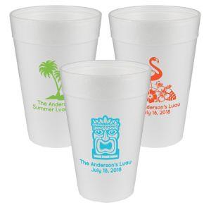 Personalized Luau Foam Cups 32oz