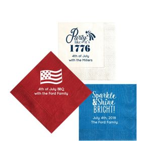 Personalized 4th of July Moire Beverage Napkins