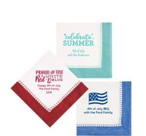 Personalized 4th of July Bordered Beverage Napkins