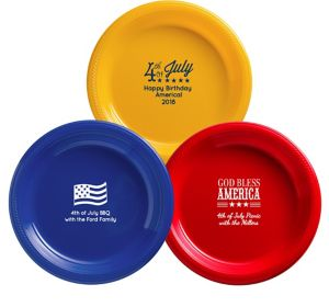 Personalized 4th of July Plastic Dinner Plates