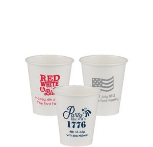 Personalized 4th of July Paper Cups 8oz