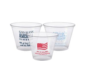 Personalized 4th of July Plastic Party Cups 9oz