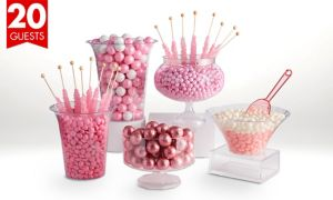 Pink Deluxe Candy Buffet Kit with Containers for 20 Guests