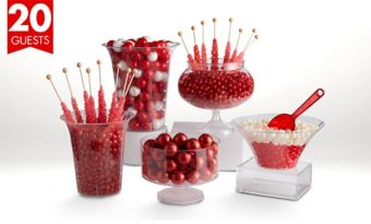 Red Deluxe Candy Buffet Kit with Containers for 20 Guests