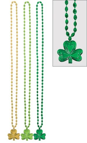 St. Patrick's Day Shamrock Pendant Bead Necklaces 3ct