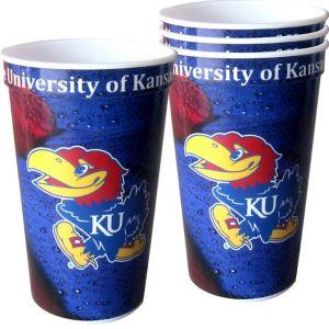 Kansas Jayhawks Plastic Cups 4ct