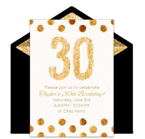 Online Golden 30 Invitations
