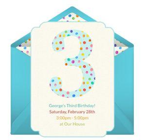 Online 3rd Birthday Dots Invitations