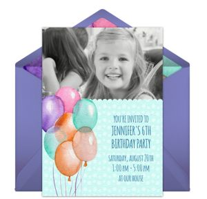 Online Birthday Balloon - Blue Photo Invitations