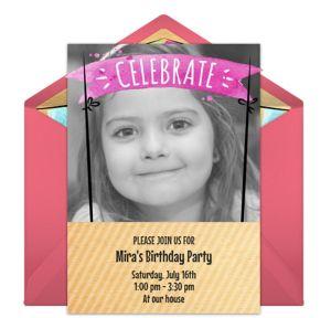 Online Birthday Banner - Pink Photo Invitations