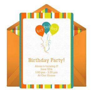 Online Summer Birthday Balloons Invitations